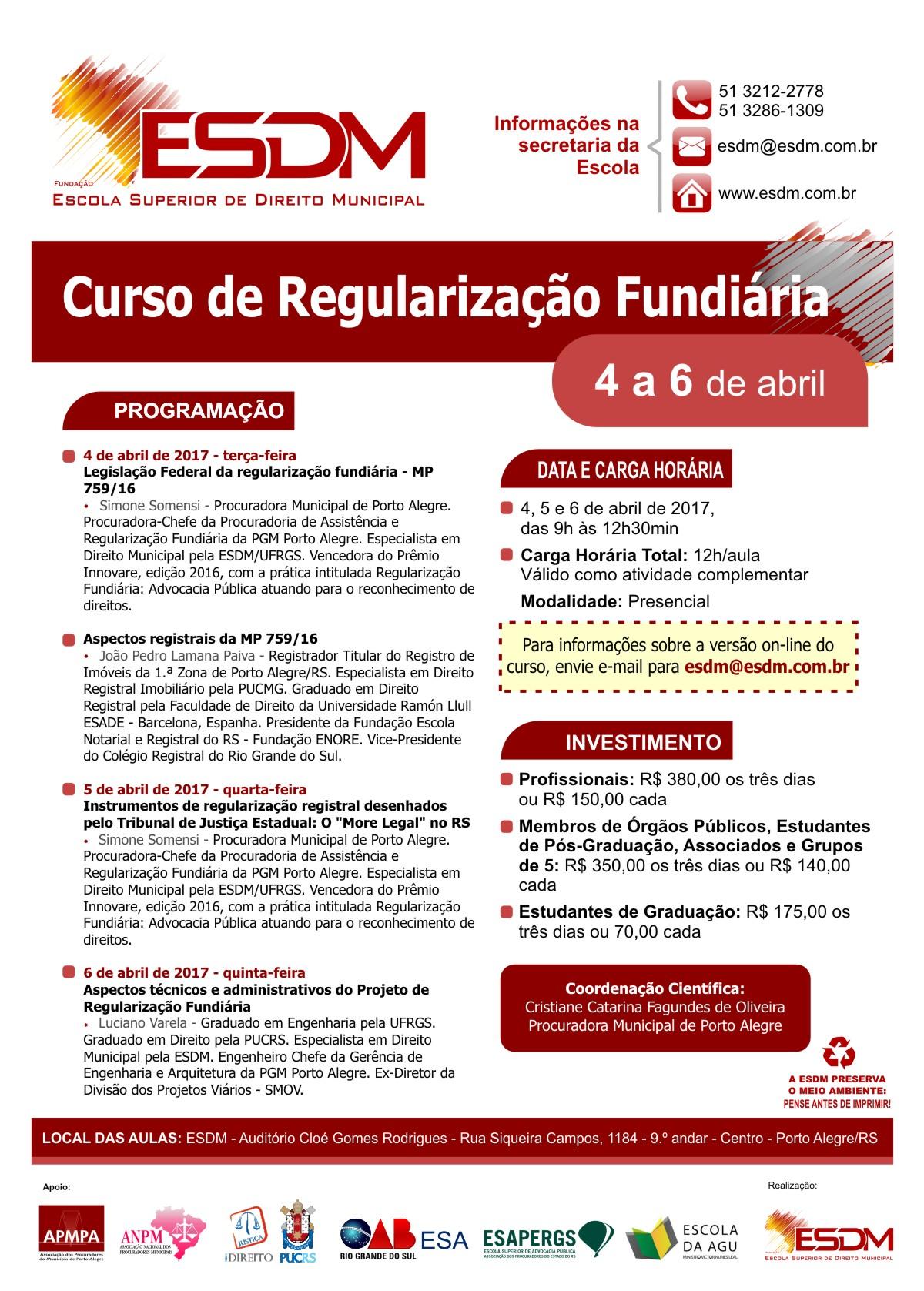 esdm - cartaz Curso de Regularização Fundiária