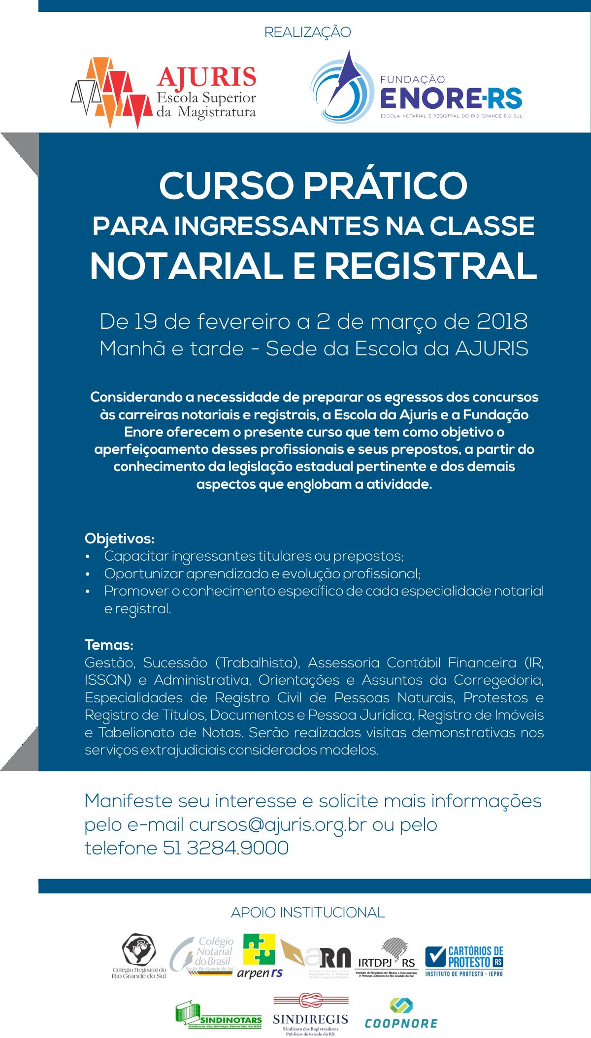 Curso Prático para ingressantes na Classe Notarial e Registral